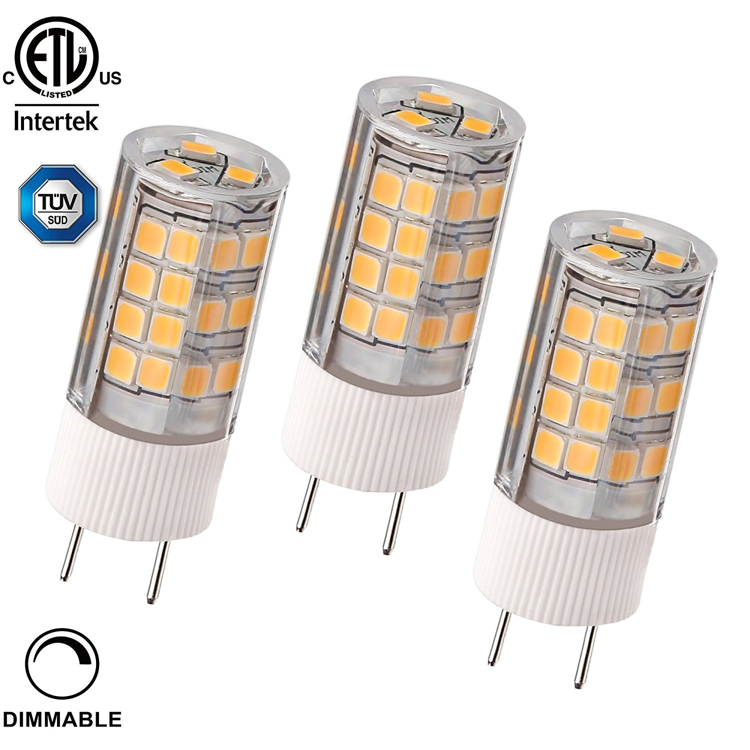 3 PACK 3.5W Dimmable G8 LED Light Bulb, 40W Bi-Pin Xenon JCD Type Halogen Replacement, 350lm, 2700K Soft White, Puck Light, Under Cabinet Light, Desk Lamps, 100-130V