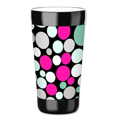 Mugzie 16-Ounce Tumbler Drink Cup with Removable Insulated Wetsuit Cover - Polka - Polka Dot Cups And Plates