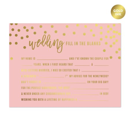 Blush Pink and Metallic Gold Confetti Polka Dots, Wedding Reception Fill in the Blanks Game Cards, - Reception Games