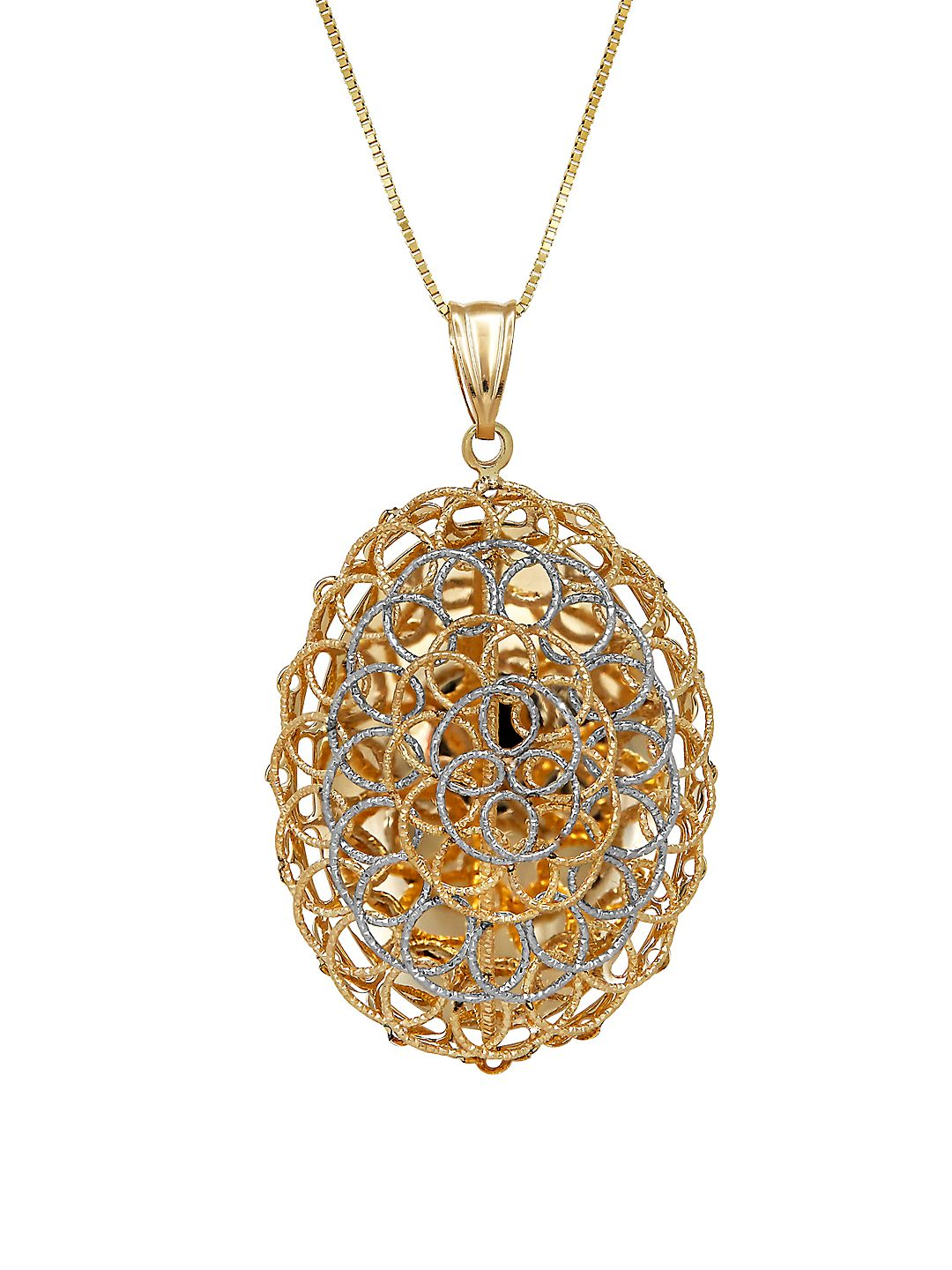 14K Yellow Gold and White Gold Mesh Swirl Necklace