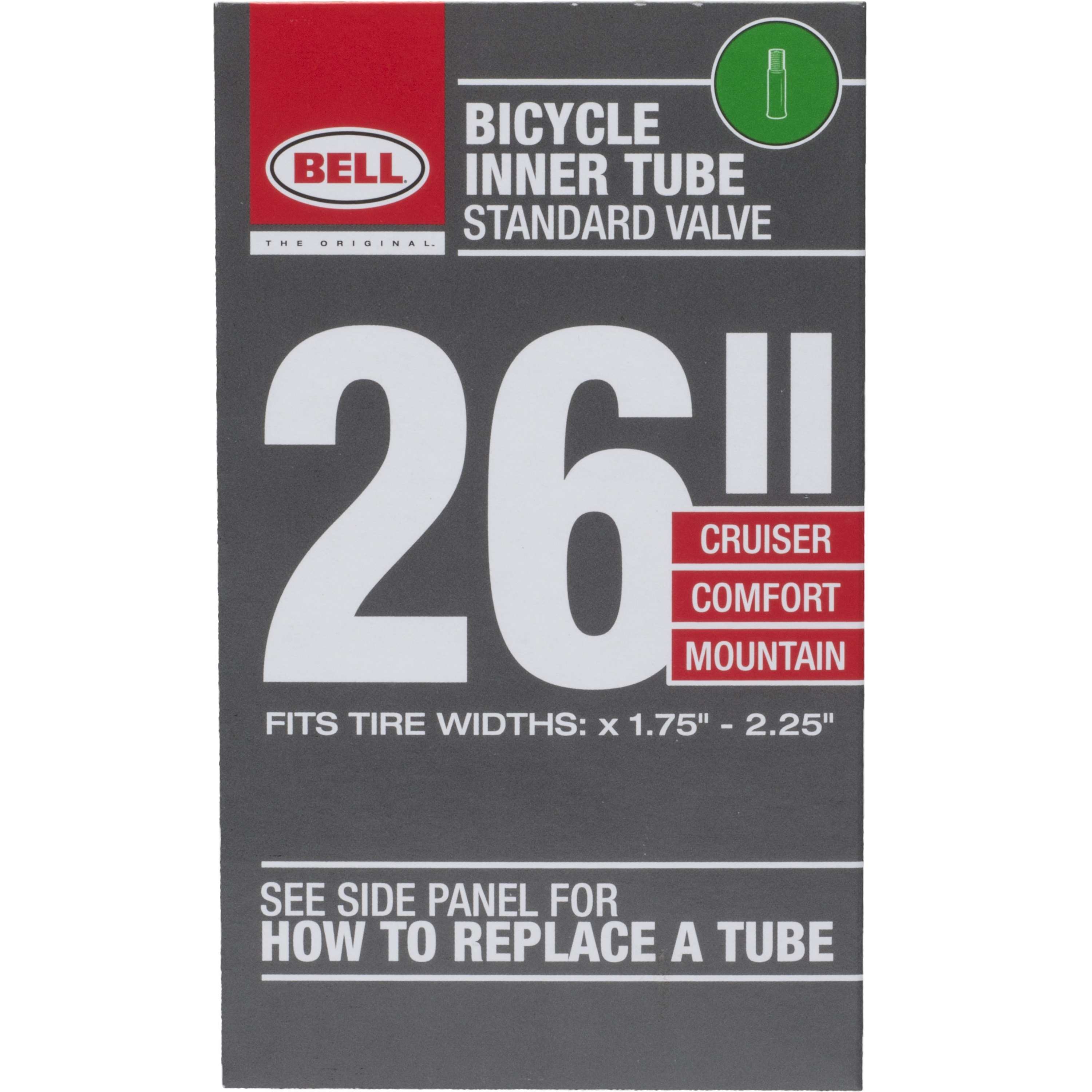"Bell Sports Standard Bicycle Inner Tube, 35mm Schrader Valve, 26"" x 1.75-2.25"""
