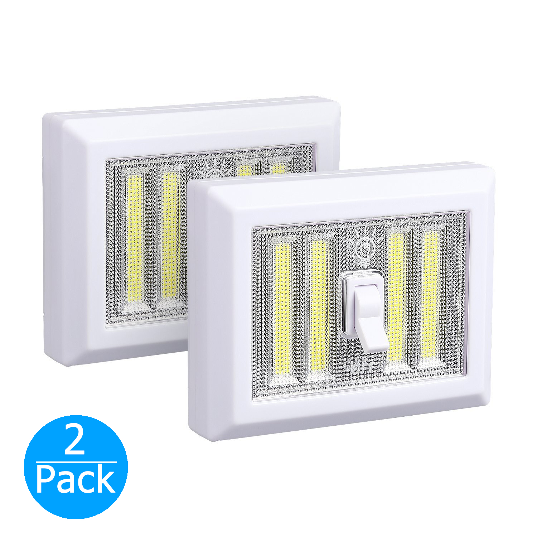 2-pack Portable Night light, Battery Operated, 4 COB LED Panels Cordless Wall Closet Switch Lamp, Wireless Tap Light Mount in Bedroom/Closets/Cabinet/Shelf/Kitchen/Basement/Hallway/Garage/Attic/RV