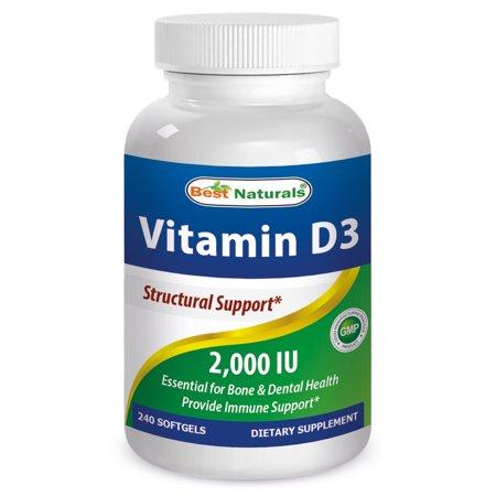 Best Naturals La vitamine D3 2000 UI 240 Gélules