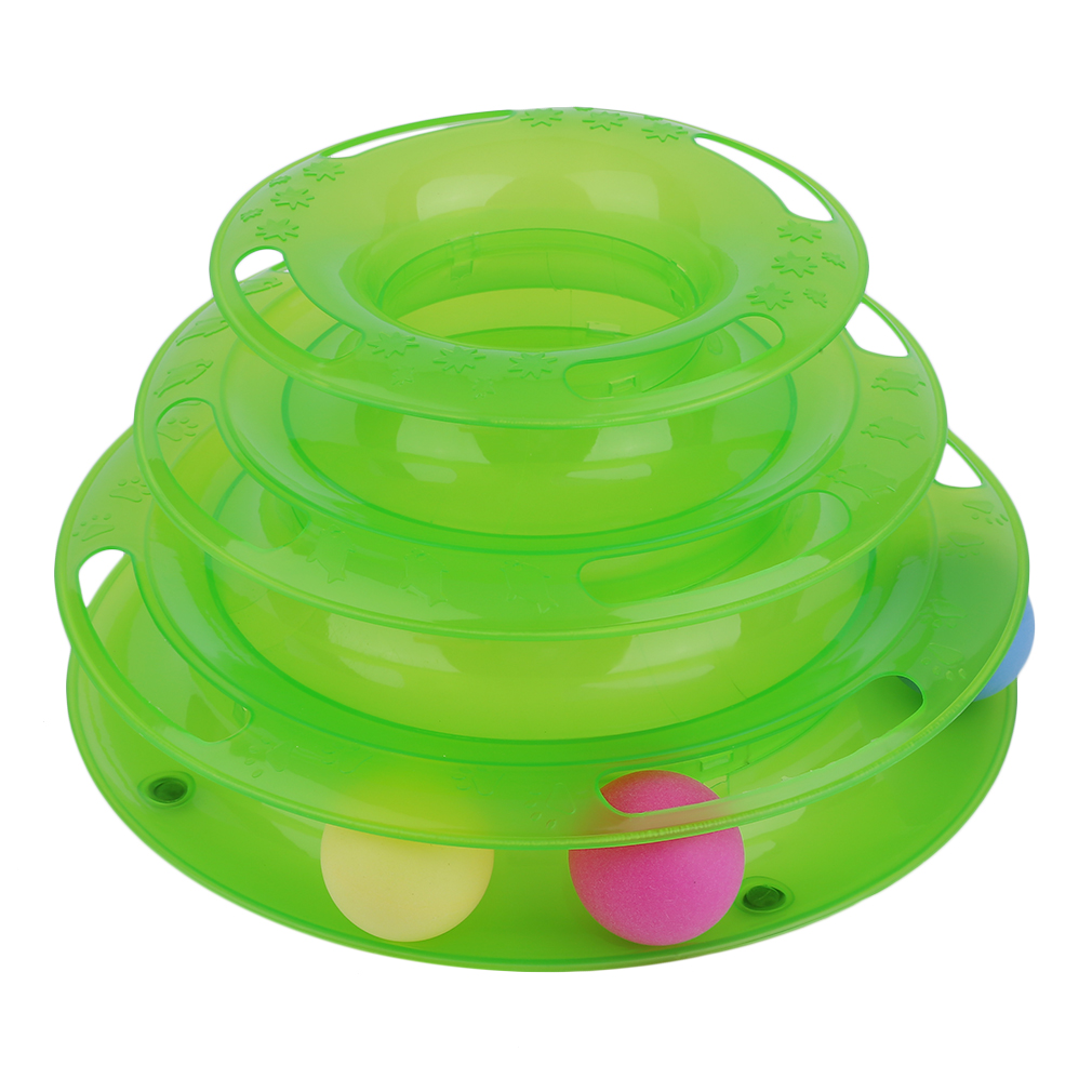 Three Layer Cats Crazy Interaction Ball Disk Turntable Amusement Plate Toy