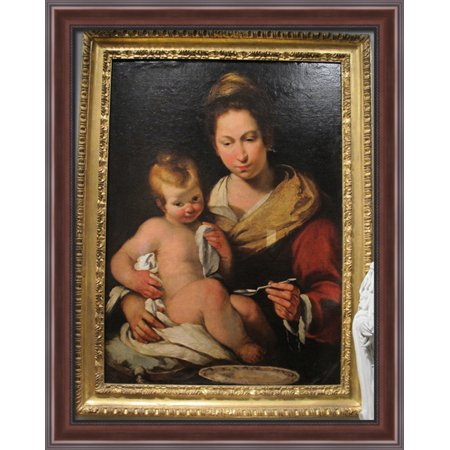 Madonna Della Pappa 28X34 Large Walnut Ornate Wood Framed Canvas Art By Bernardo Strozzi