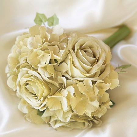 Efavormart 4 Bouquets of Realistic Artificial Rose/ Hydrangea Flower for DIY Wedding Bouquets Centerpieces Party Home Decorations ()