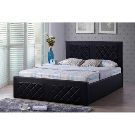Hodedah Imports Faux Leather Platform Bed