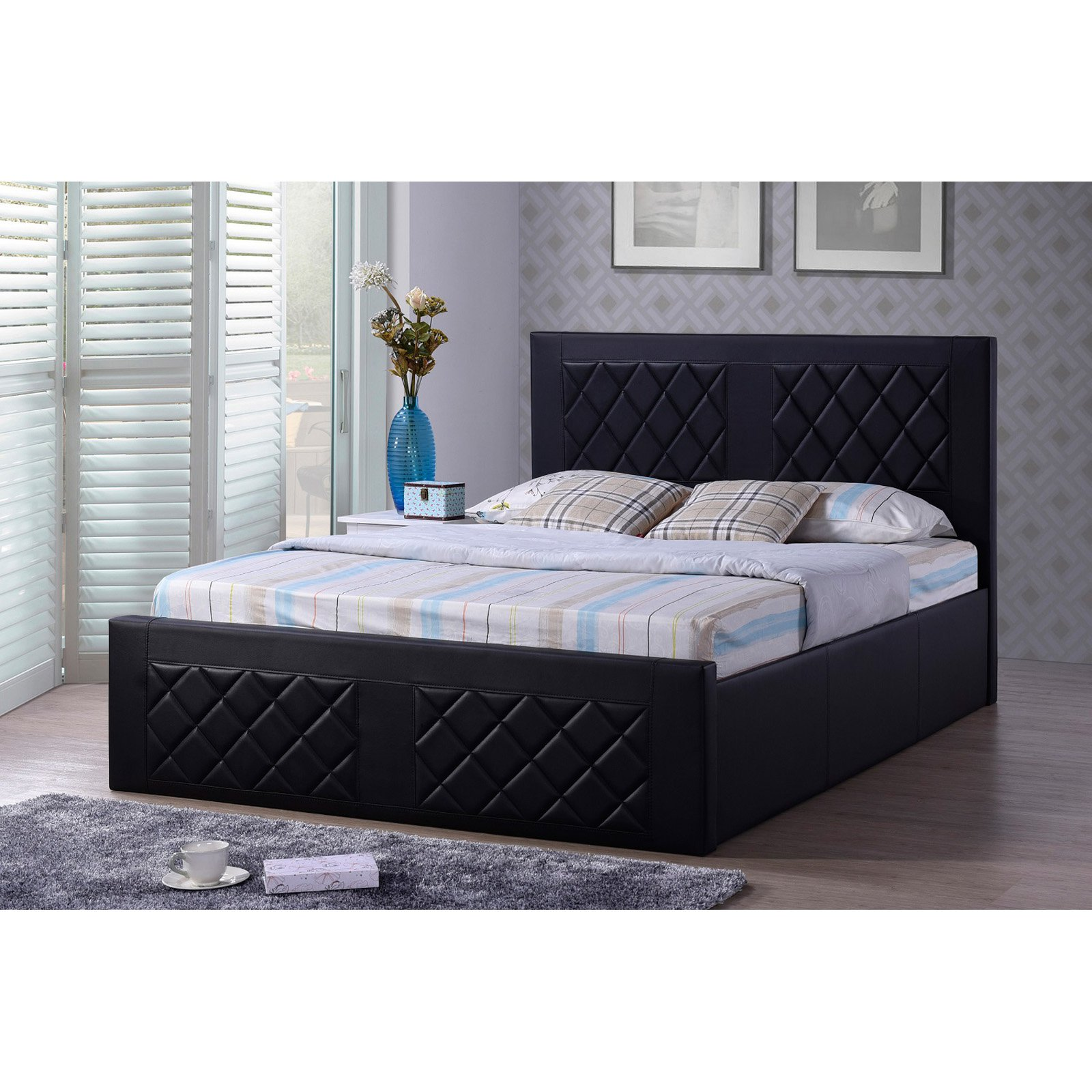 hodedah imports faux leather platform bed
