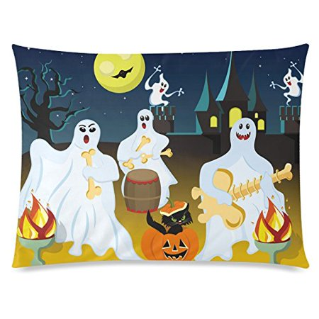 ZKGK Happy Halloween Moon Night Glitter Bat Home Decor Pillowcase 20 x 30 Inches,Hispter Ghost Play the Guitar Pillow Cover Case Shams Decorative - Happy Halloween Casper The Ghost