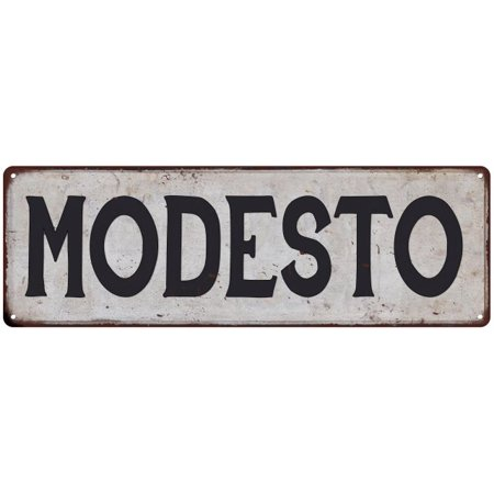 MODESTO Vintage Look Rustic Metal Sign Chic City State Retro 6185858 (Party City In Modesto)