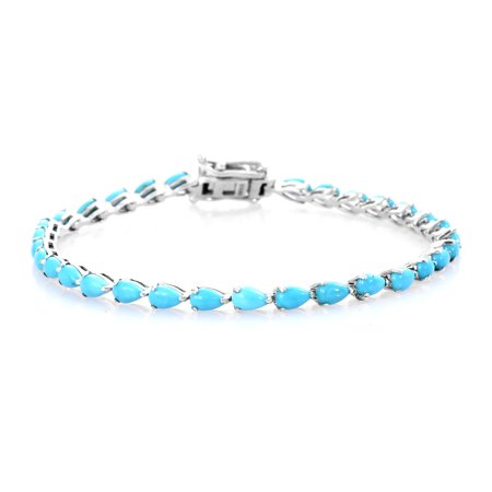 Tennis Bracelet 925 Sterling Silver Platinum Plated Pear Sleeping Beauty Turquoise Jewelry for Women Size 7.25""