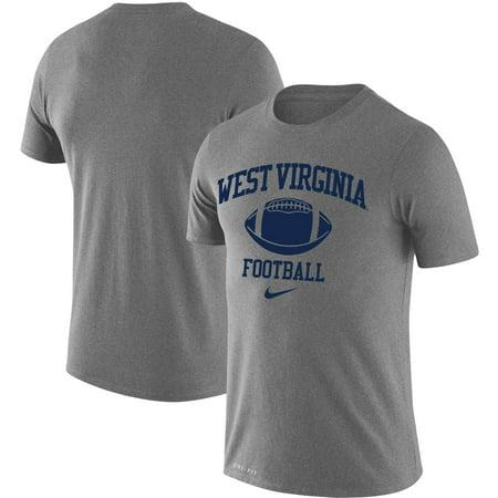 West Virginia Mountaineers Nike Retro Football Lockup Legend Performance T-Shirt - Heathered Gray (Nike Jordan Retro 3 Grey)