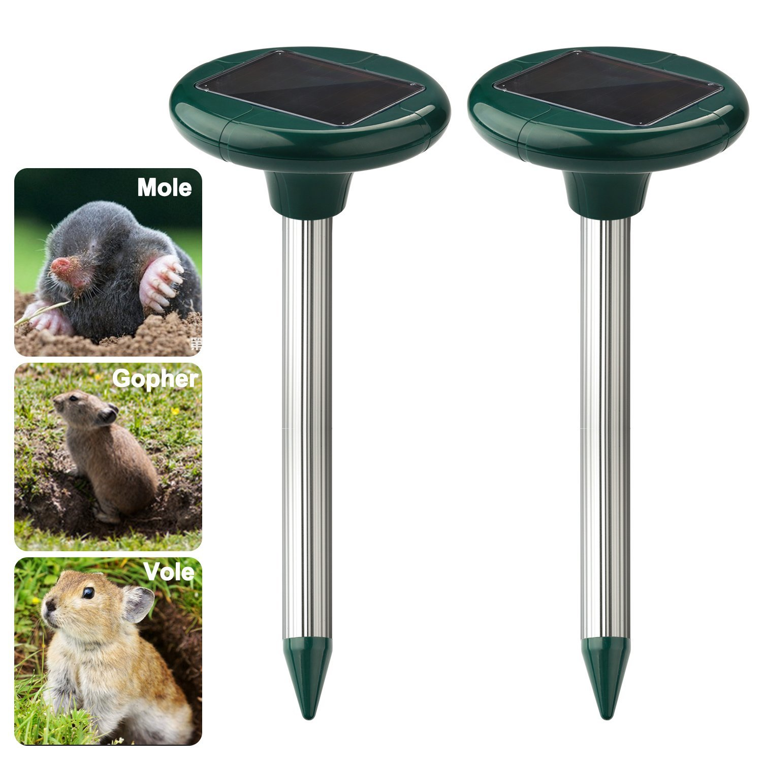 Solar Powered Sonic Mole Repeller Set of 2, Effective Gop...