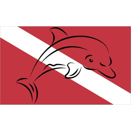 5in x 3in Dolphin Diver Down Flag Sticker Car Truck Vehicle Bumper Decal](Dolphin Card)