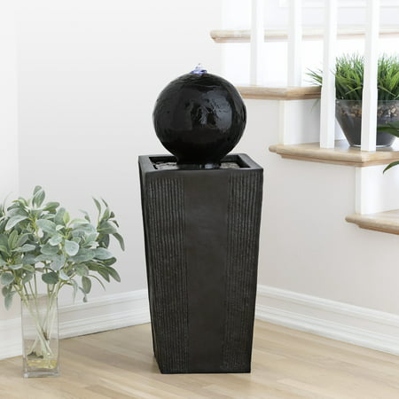 Alpine Corporation Modern Sphere and Pedestal Outdoor Fountain with LED Light ()