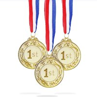 6-Pack Gold 1St Place Award Medal Set - Metal Olympic Style For Sports, Competitions, Spelling Bees, Party Favors, 2.5 Inches In Diameter With 32-Inch Ribbon