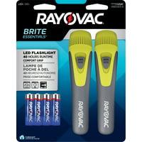 Rayovac Brite Essentials 2AA LED Comfort Grip Flashlight Twin Pack BEP2AA-B2TA
