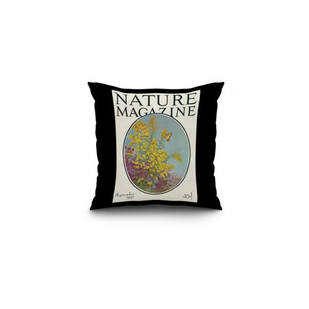 Nature Magazine - View of Blooming Flowers and a Butterfly (16x16 Spun Polyester Pillow, Black Border) (Flowers Magazine)