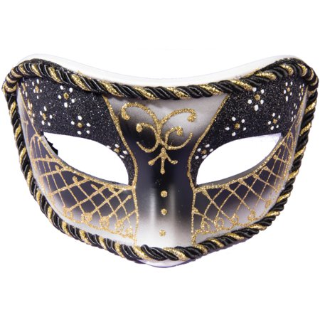 Venetian Costumes And Masks (Adults Black And Gold Rope Trim Venetian Masquerade Half Mask Costume)