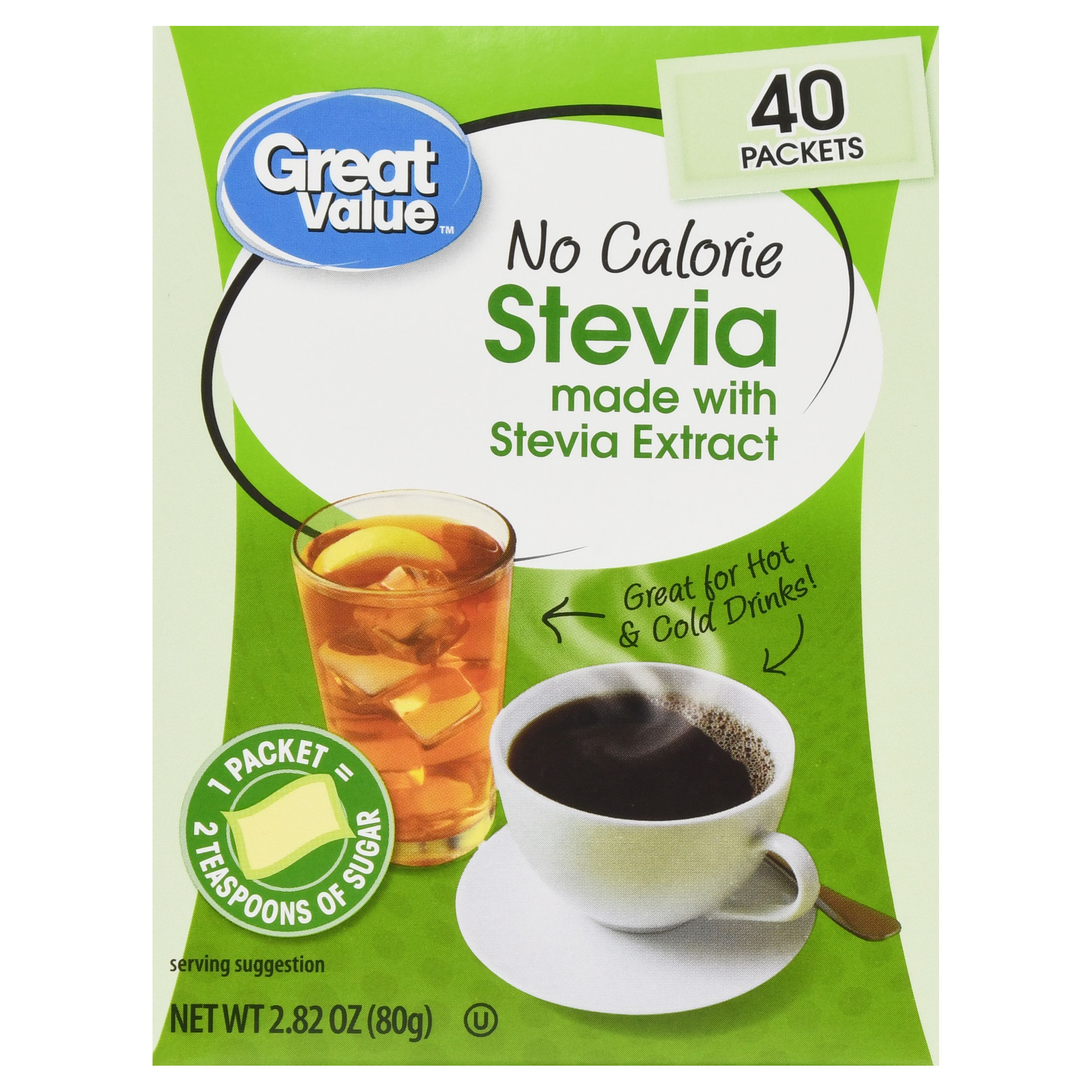 Great Value No Calorie Stevia Sweetener Packets, 40 Count