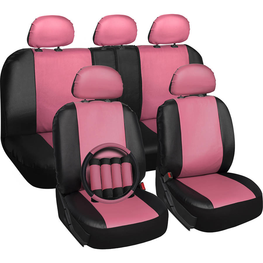 Oxgord 17-Piece Set Faux Leather/Auto Seat Covers Set, Airbag Compatible, 50/50 or 60/40 Rear Split Bench, Universal Fit for Car, Truck, or SUV, FREE Steering Wheel Cover, Pink