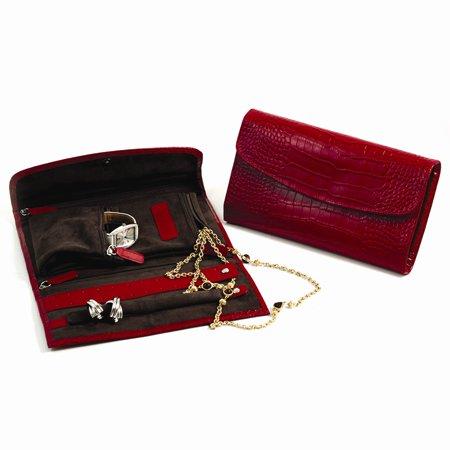 Red Leather Croco Jewelry Clutch w/Snap Closure