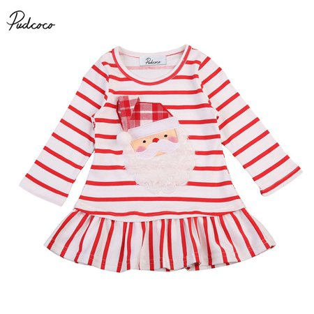 Cute Girls Dress Spring Autumn Baby Girl Clothes Long Sleeve Santa Claus Striped Dress for Kids - Santa Claus Dress For Babies