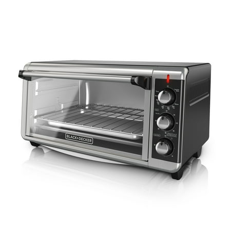 BLACK+DECKER 8-Slice Extra-Wide Stainless Steel/Black Convection Countertop Toaster Oven, Stainless Steel,