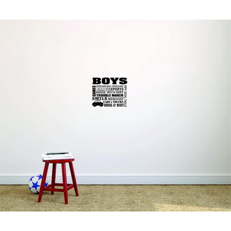 Wall Design Pieces Boys Games Dream Big Dreams Brave Sports Noise With Dirt Trouble Maker Smile Mischief Car & Trucks Bugs 12x12