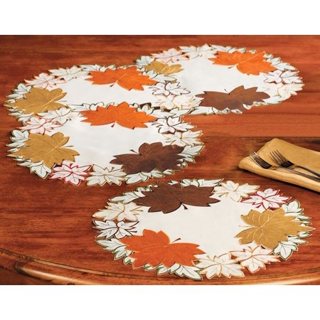 Maple Leaf Embroidered Fall Table Linens, Placemats, Gorgeous seasonal table linens feature detailed cutouts and are beautifully edged with colorful embroidery By Collections