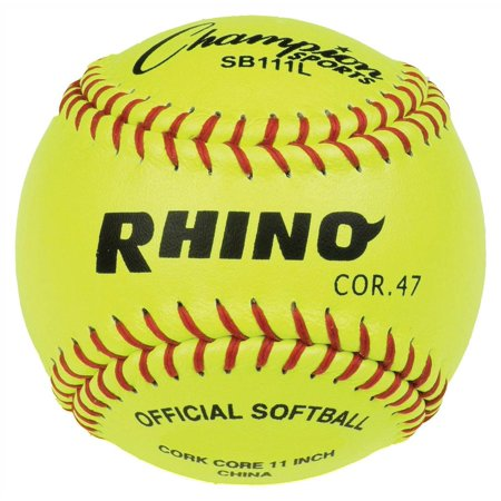 Leather Cover Softball in Optic Yellow - Set of 12 12' Optic Yellow Leather