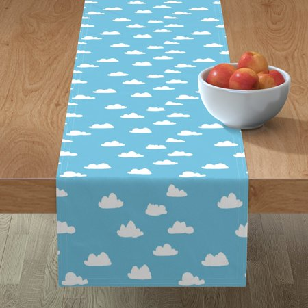 Image of Table Runner Clouds Blue Cloud Sky Nursery Baby Boy Cotton Sateen