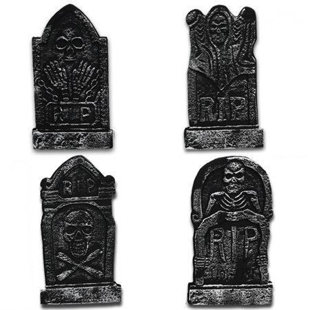 4 Pack Foam Graveyard Tombstones Headstone with Metal Stakes Decor for Yard Decorations Lightweight - image 1 of 7