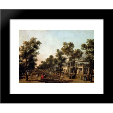 View Of The Grand Walk, vauxhall Gardens, With The Orchestra Pavilion, The Organ House, The Turkish Dining Tent And The Statue Of Aurora 20x24 Framed Art Print by Canaletto