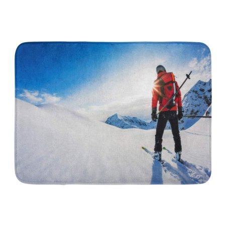 GODPOK Travel Red Ski Skiing Rear View of Skier in Powder Snow Italian Alps Europe White Fun Man Rug Doormat Bath Mat 23.6x15.7