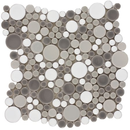 MTO0208 Contemporary Penny Round Bubbles Gray White Glazed Ceramic Mosaic Tile Glazed Ceramic Mosaic Floor
