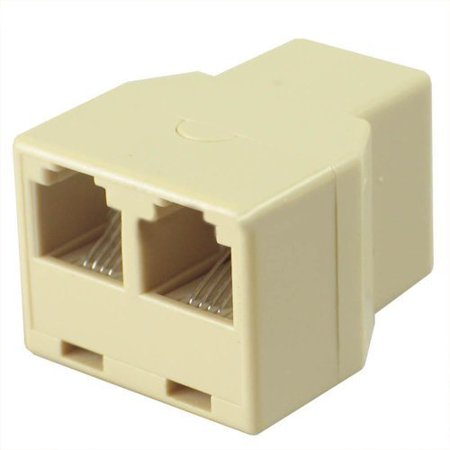Wideskall® 4 Conductor Modular Jack Telephone Coupler Splitter Adapter (Ivory)