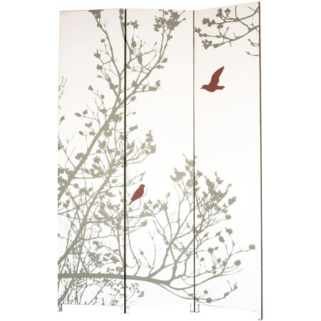Kiera Grace Bota Stretched Canvas Triple Panel Floor Screen  Trees With Bird  47  X 71