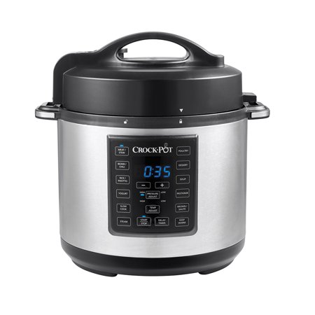 Crock-Pot 6-Quart 8-in-1 Express Crock Programmable Slow Cooker, Pressure Cooker, Saut ©, and Steamer, Stainless Steel, SCCPPC600-V1