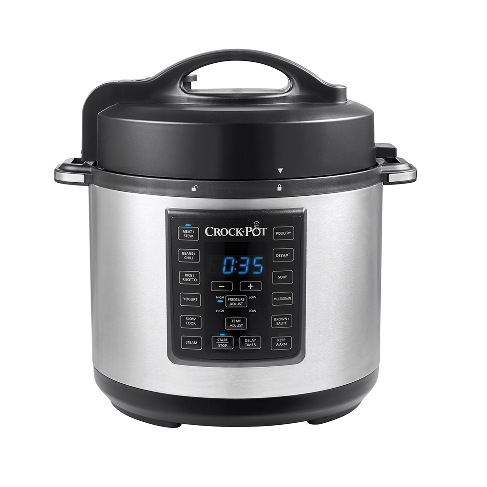 Crock-Pot 6-Quart 8-in-1 Express Crock Programmable Slow Cooker, Pressure Cooker, Sauté, and Steamer, Stainless Steel, SCCPPC600-V1