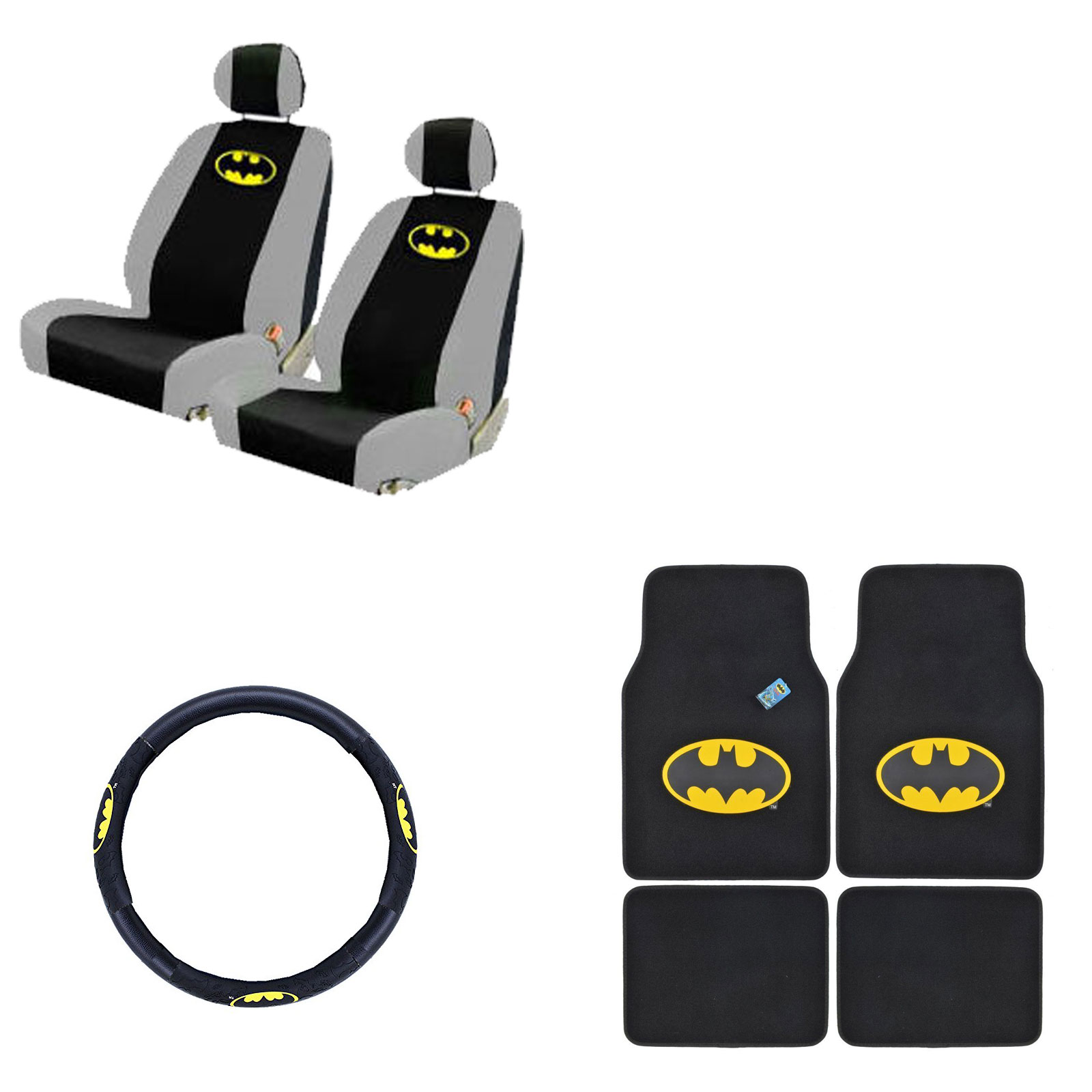 Batman 4 Pc Carpet Floor Mats And 2 Pc Seat Covers With Wheel Cover