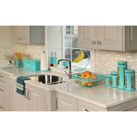 Home Basics Essence 2 Piece Glass Oil and Vinegar Pourer Bottle Set, Turquoise ()