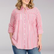 Lee Riders Women's Plus Size Long Sleeve Striped Pleated Tunic Top