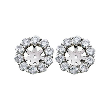 - 1 1/2ct Diamond Halo Earring Studs Jackets White Gold Fits 1ct Stones (6-6.7mm)