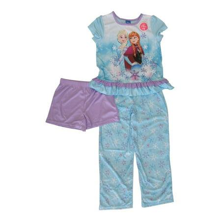 Disney Girls Blue Purple Frozen Elsa Ana Short Sleeve 3 Pcs Pajama Set - Ana Frozen