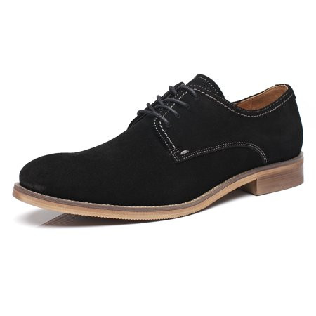 La Milano Mens Dress Shoes Genuine Suede Leather Classic Modern Oxfords Round Plain Toe Lace Up, Black