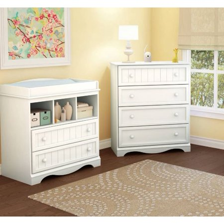 South Shore Savannah Collection Changing Table and 4-Drawer Dresser, Choose Your (South Shore Savannah Collection Changing Table Pure White)