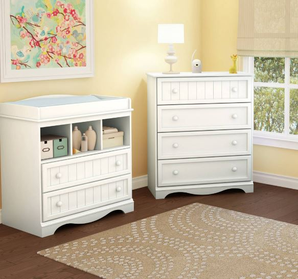 South Shore Savannah Collection Changing Table and 4-Drawer Dresser, Choose Your Finish