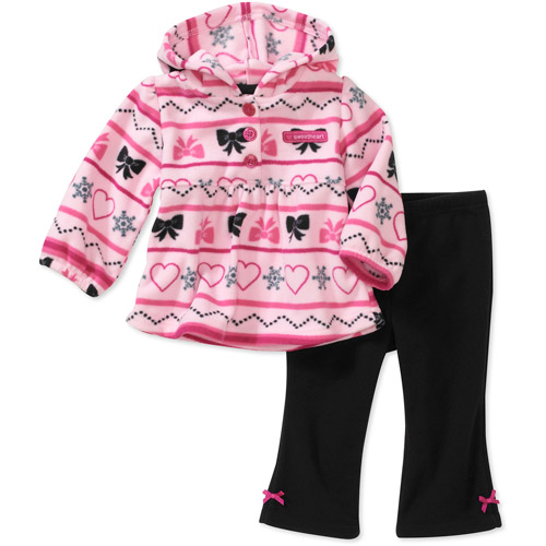 Child of Mine Carters Newborn Girls' 2-Piece Micro Fleece Heart Print Hooded Top and Pant Set