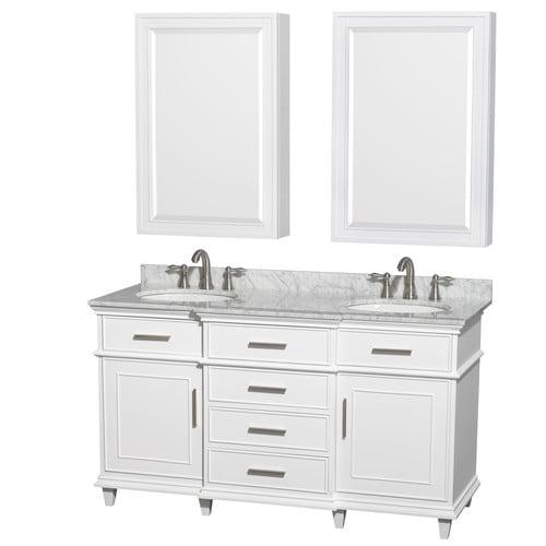 Wyndham Collection Berkeley 60 inch Double Bathroom Vanity in White, White Carrera Marble Countertop, Undermount Round Sinks, 24 inch Medicine Cabinets
